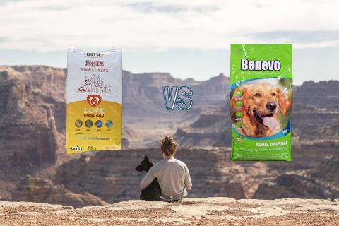 benevo original adult vs ami mini small dry kibble vegan dog food comparison